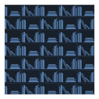 Dark Blue Books on Shelf Invitation