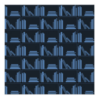 Dark Blue Books on Shelf Invitation