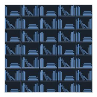Dark Blue Books on Shelf. Invitation
