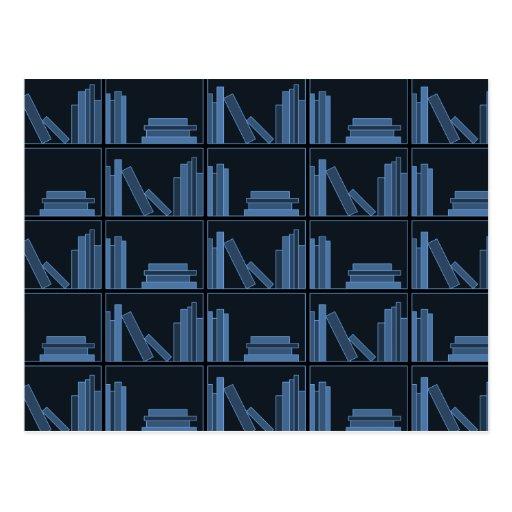 Dark Blue Books on Shelf. Postcards