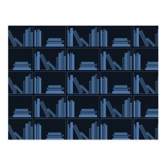 Dark Blue Books on Shelf Postcards