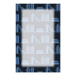 Dark Blue Books on Shelf Stationery Design