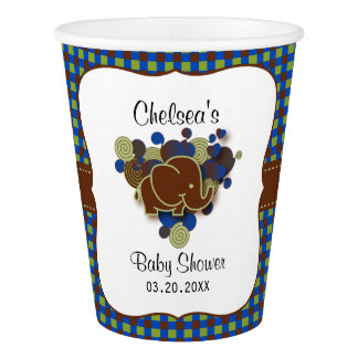 Dark Blue & Brown Baby Elephant | Baby Shower Paper Cup