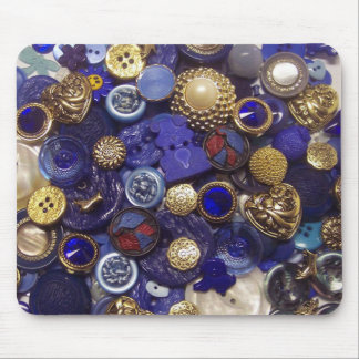 Dark Blue Button Collage Mouse Pad