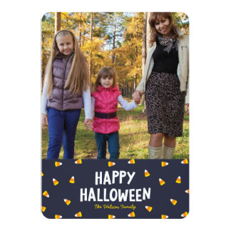 Dark Blue Candy Corn Photo Happy Halloween Card