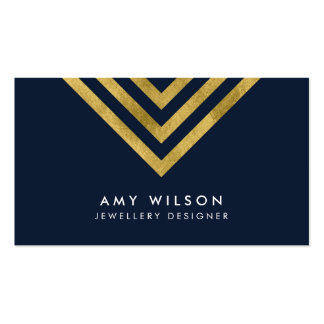 Dark Blue Chic Faux Gold Geometric Design Pack Of Standard Business Cards