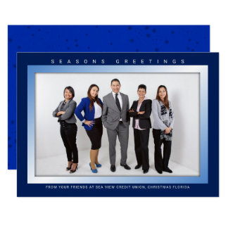 Dark Blue Corporate Employee Photo Christmas Card