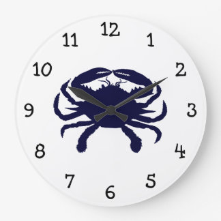 Dark Blue Crab Large Clock