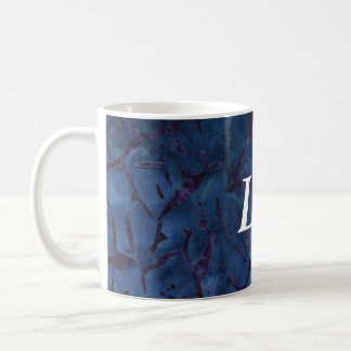 Dark Blue Crackle Basic White Mug
