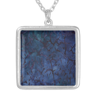Dark Blue Crackle Square Pendant Necklace
