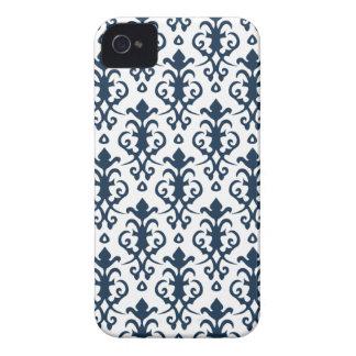 Dark Blue Damask iPhone 4/4S Case