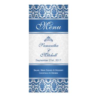Dark blue damask on silver Menu Customised Rack Card