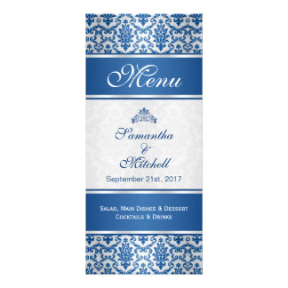 Dark blue damask on silver Menu Full Color Rack Card