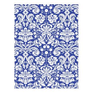 Dark blue damask pattern postcards