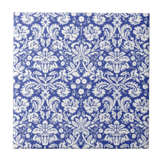 Dark blue damask pattern small square tile