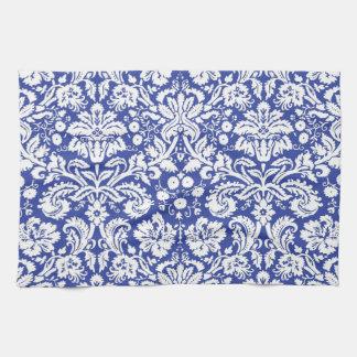 Dark blue damask pattern tea towel