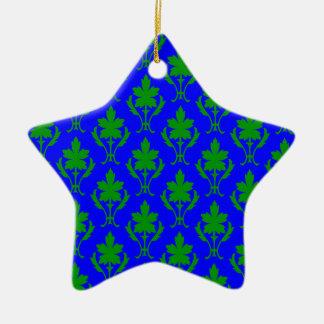 Dark Blue & Dark Green Ornate Wallpaper Pattern Christmas Ornament