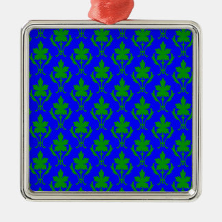 Dark Blue & Dark Green Ornate Wallpaper Pattern Christmas Ornament