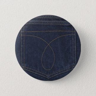 Dark Blue Denim Pocket 6 Cm Round Badge
