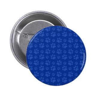 Dark blue dog paw print pattern 6 cm round badge