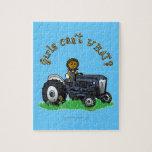 Dark Blue Farmer Girl Jigsaw Puzzle