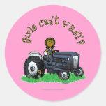Dark Blue Farmer Girl Round Stickers