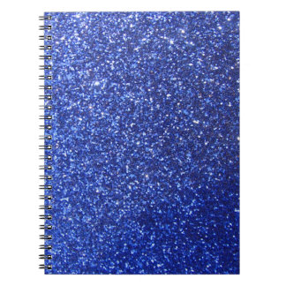 Dark blue faux glitter graphic notebook
