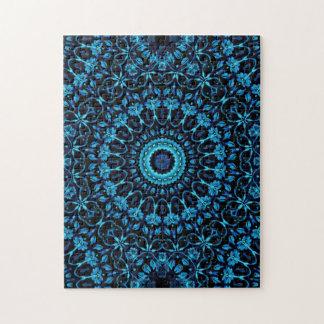Dark Blue Floral Mandala Jigsaw Puzzle