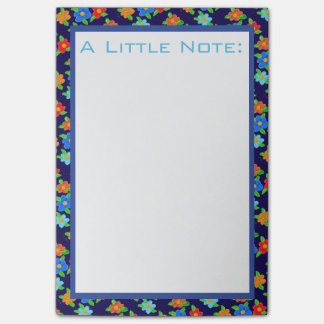 Dark Blue Flowered Office Post-It Notes