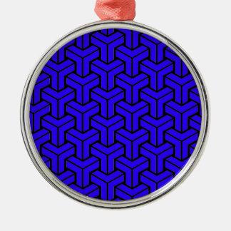 Dark Blue Geometric Pattern Christmas Ornament