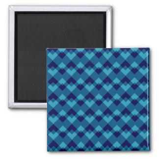 Dark Blue Geometric Pattern. Square Magnet