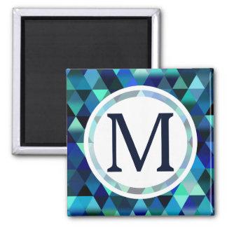 Dark Blue Geometric Triangle Pattern Square Magnet