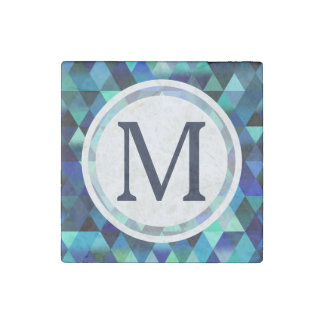 Dark Blue Geometric Triangle Pattern Stone Magnet