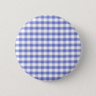 Dark blue gingham pattern 6 cm round badge
