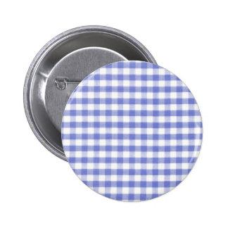 Dark blue gingham pattern 6 cm round badge