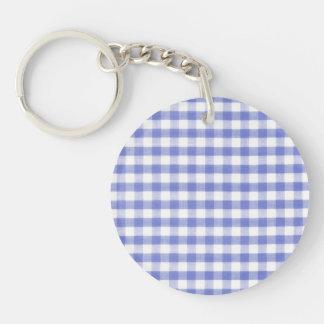 Dark blue gingham pattern key ring