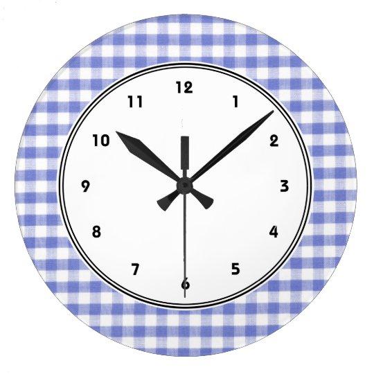 Dark blue gingham pattern large clock
