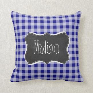 Dark Blue Gingham; Vintage Chalkboard look Cushion