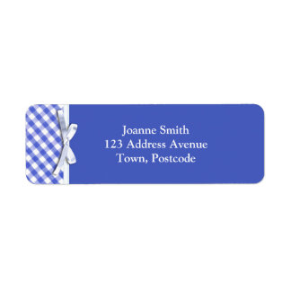 Dark blue gingham with white ribbon bow graphic