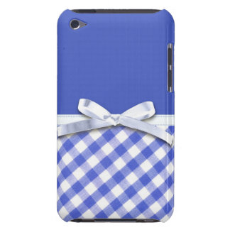 Dark blue gingham with white ribbon bow graphic iPod touch cases