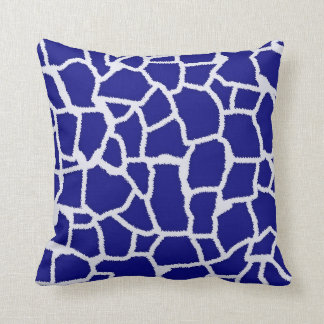 Dark Blue Giraffe Animal Print Cushion