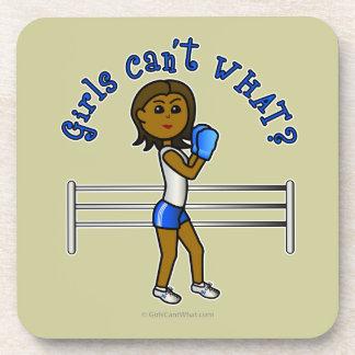 Dark Blue Girls Boxing Drink Coasters