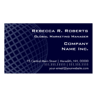 Dark Blue Globe International Marketing Corporate Pack Of Standard Business Cards