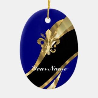 Dark blue & gold fleur de lys christmas ornament