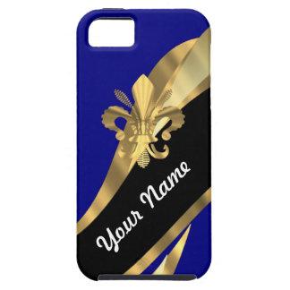 Dark blue & gold fleur de lys iPhone 5 cases