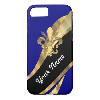 Dark blue & gold fleur de lys iPhone 8/7 case