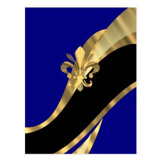Dark blue & gold fleur de lys post cards