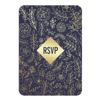 Dark Blue | Gold Foil Pattern Wedding RSVP Cards 9 Cm X 13 Cm Invitation Card