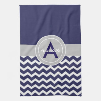 Dark Blue Gray Chevron Tea Towel