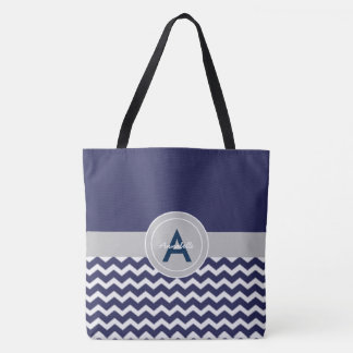 Dark Blue Gray Chevron Tote Bag